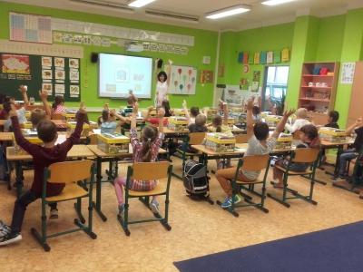Prvňáčci poprvé ve škole